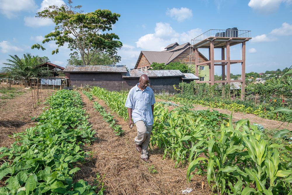 A older man walks through a farm in Ganta, Liberia