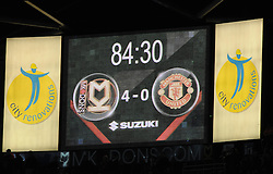 Score board shows the humiliating defeat - Photo mandatory by-line: Joe Meredith/JMP - Mobile: 07966 386802 26/08/2014 - SPORT - FOOTBALL - Milton Keynes - Stadium MK - Milton Keynes Dons v Manchester United - Capital One Cup