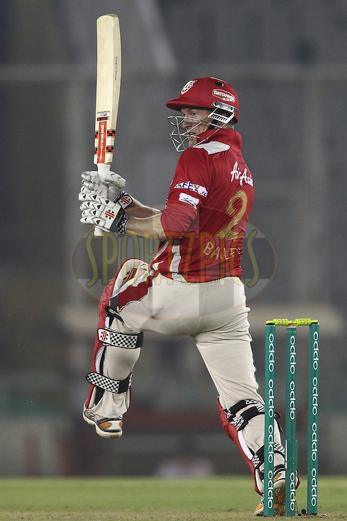 Kings XI Punjab captain George Bailey pulls a delivery during match 2 of the Oppo Champions League Twenty20 between the Kings XI Punjab and the Hobart Hurricanes held at the Punjab Cricket Association Stadium, Mohali, India on the 18th September 2014<br /> <br /> Photo by:  Shaun Roy / Sportzpics/ CLT20<br /> <br /> <br /> Image use is subject to the terms and conditions as laid out by the BCCI/ CLT20.  The terms and conditions can be downloaded here:<br /> <br /> http://sportzpics.photoshelter.com/gallery/CLT20-Image-Terms-and-Conditions-2014/G0000IfNJn535VPU/C0000QhhKadWcjYs