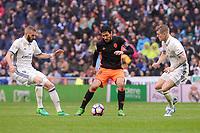 Real Madrid's Karim Benzema and Toni Kroos and Valencia CF's Daniel Parejo during La Liga match between Real Madrid and Valencia CF at Santiago Bernabeu Stadium in Madrid, April 29, 2017. Spain.<br /> (ALTERPHOTOS/BorjaB.Hojas)