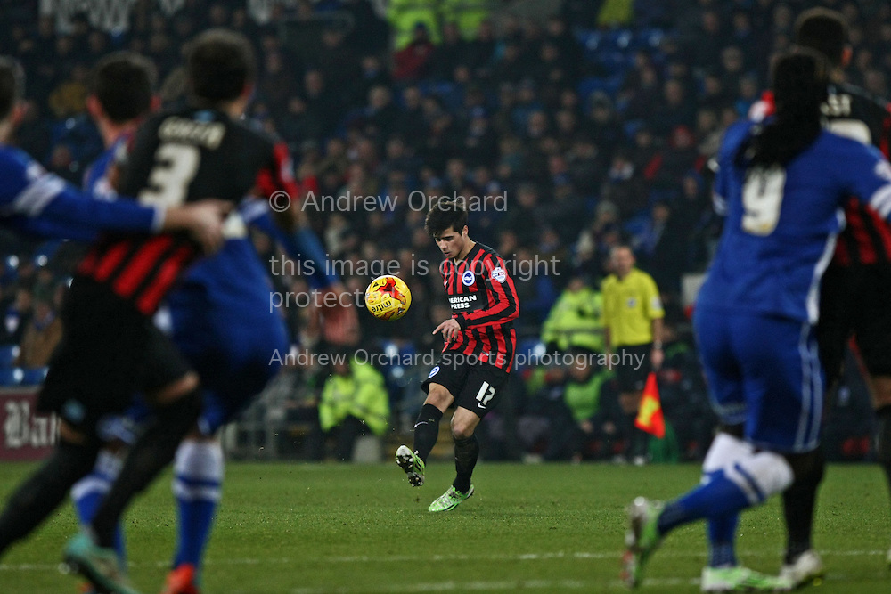 Joao Teixeira of Brighton chips a free kick into a crowded Cardiff penalty area.<br /> Skybet football league championship match, Cardiff City v Brighton &amp; Hove Albion at the Cardiff city Stadium in Cardiff, South Wales on Tuesday 10th Feb 2015.<br /> pic by Mark Hawkins, Andrew Orchard sports photography.