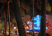 Miami, Fla 122707    Trendy Art Deco hotels in South Beach, one of South Florida favorite destinations, glow with their neon-light display. (photo by Essdras M Suarez/EMS Photography).