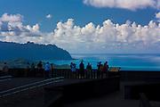 Sightseers at Pali lookout, Oahu, Hawaii