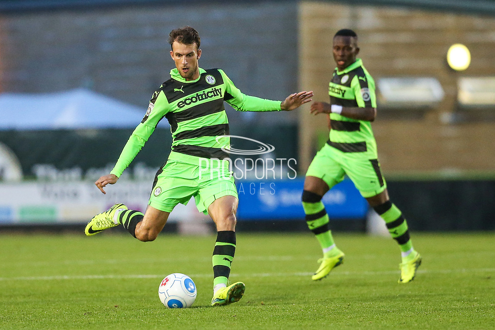 Forest Green Rovers Christian Doidge (9) plays a pass during the Gloucestershire Senior Cup match between Forest Green Rovers and Cheltenham Town at the New Lawn, Forest Green, United Kingdom on 20 September 2016. Photo by Shane Healey.