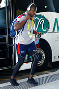 Jermaine Mcgillvary of England comes of the team bus before the Rugby League World Cup match between Australia and England at Melbourne Rectangular Stadium, Melbourne, Australia on 27 October 2017. Photo by Mark  Witte.