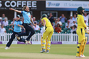 Laura Marsh of England (7) catches Rachael Haynes of Australia (7) during the Royal London Women's One Day International match between England Women Cricket and Australia at the Fischer County Ground, Grace Road, Leicester, United Kingdom on 4 July 2019.