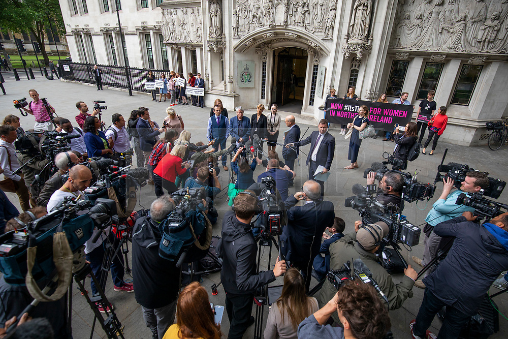 © Licensed to London News Pictures. 07/06/2018. London, UK. Northern Ireland Human Rights Commission's (NIHRC) Chief Commissioner Les Allamby speaks to media outside the Supreme Court after the court said it could not rule on an appeal against Northern Ireland's strict abortion laws, but that it would have declared them incompatible with human rights laws otherwise. Photo credit: Rob Pinney/LNP