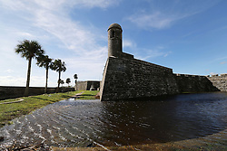 October 8, 2016 - St. Augustine, FL, USA - Flooded moat in the grounds of Castillo de San Marcos in the wake of Hurricane Matthew in St. Augustine, Fla., on Saturday, Oct. 8, 2016. (Credit Image: © Ricardo Ramirez Buxeda/TNS via ZUMA Wire)