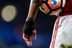 Luis Antonio Valencia of Manchester United wears a wrist support - Rogan Thomson/JMP - 13/03/2017 - FOOTBALL - Stamford Bridge - London, England - Chelsea v Manchester United - FA Cup Quarter Final..