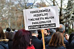 January 3, 2018 - Ankara, Turkey - A woman holds a placard as demonstrators gathered to protest against Turkey's Presidency of Religious Affairs in Ankara, Turkey on January 3, 2018. The Turkish Presidency of Religious Affairs has stated on its official website that 9-year-old girls and 12-year-old boys are able to get married, the opposition media claimed on January 2. (Credit Image: © Altan Gocher/NurPhoto via ZUMA Press)