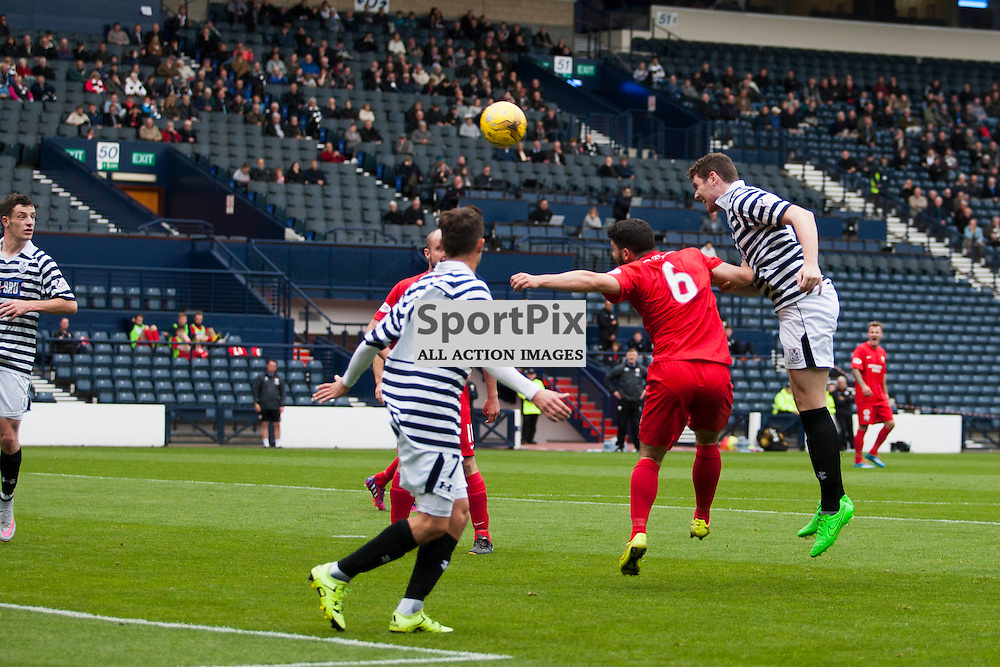 Ryan McGeever (Queen&rsquo;s Park 5) sees this header cleared off the line by Scott Johnston (Montrose 7) in the Queen's Park v Montrose SPFL2 at Hampden Park on 03 October 2015<br />