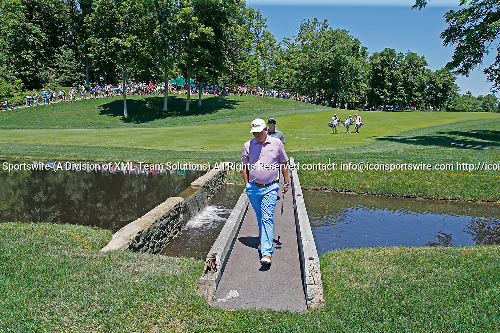 DUBLIN, OH - JUNE 02: PGA golfer Jason Dufner walks across a bridge on the 9th hole during the Memorial Tournament - Second Round on June 02, 2017 at Muirfield Village Golf Club in Dublin, Ohio (Photo by Brian Spurlock/Icon Sportswire)