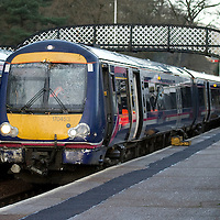 5.1.2012.  The damaged Scotrail train stopped at Dunkeld Station after hitting a fallen tree on its southbound journey towards Edinburgh.<br /> (Please see Gordon Currie story 01738 446766).<br /> COPYRIGHT: Perthshire Picture Agency.<br /> Tel. 01738 623350 / 07775 852112.
