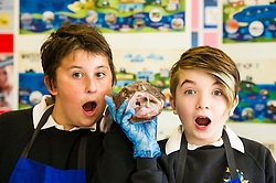 Pictured: Aiden Wrubel (13) and Aiden Corrin (12) matched the monkfish's expression<br /> <br /> The Seafood in Schools project, which aims to teach children about Scottish seafood, visited Craigroyston Community High School today where 260 children took part in workshops with the opportunity to view and handle fresh and live species, including crab and lobster.<br /> Ger Harley | EEm 7 June 2016