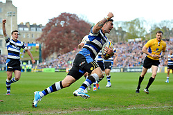 Matt Banahan (Bath) celebrates his team's bonus point try late in the game - Photo mandatory by-line: Patrick Khachfe/JMP - Tel: Mobile: 07966 386802 19/04/2014 - SPORT - RUGBY UNION - The Recreation Ground, Bath - Bath Rugby v Worcester Warriors - Aviva Premiership.