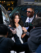 Kim Kardashian arrives for the E! Network Upfront event at Gotham Hall in New York City, New York on April 30, 2012.
