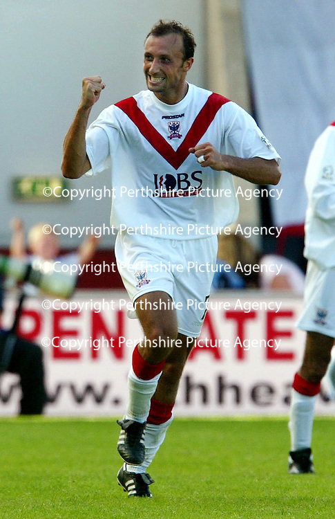 Airdrie v St Johnstone...07.08.04<br />Jerome Vareille celebrates his goal<br /><br />Picture by Graeme Hart.<br />Copyright Perthshire Picture Agency<br />Tel: 01738 623350  Mobile: 07990 594431
