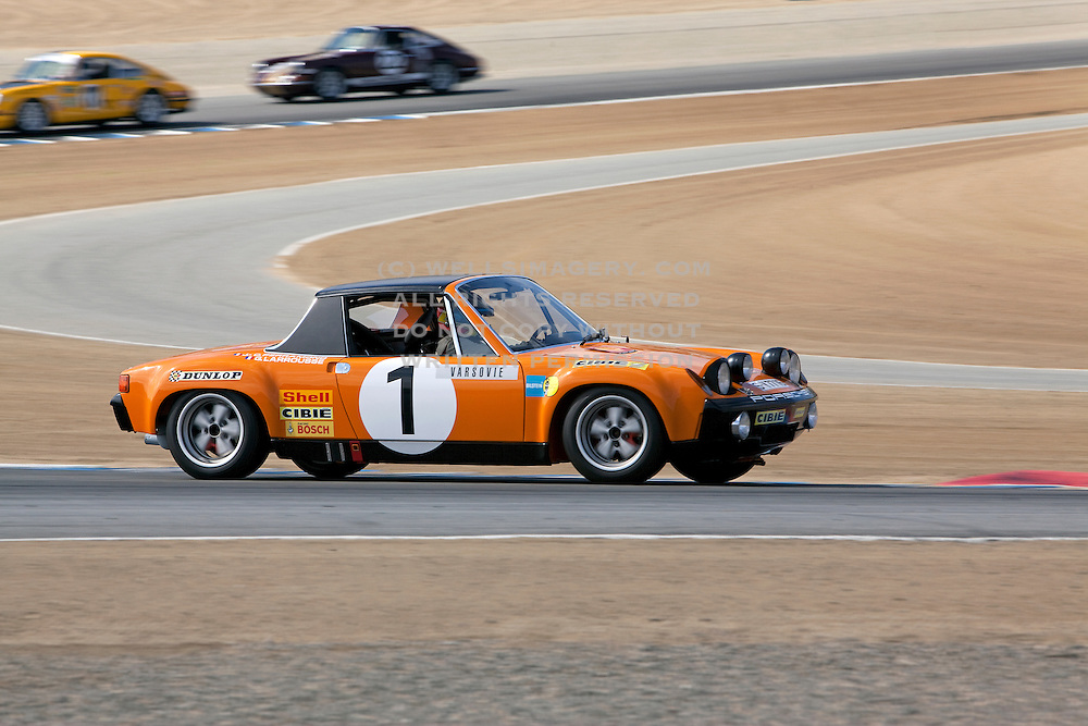 Image of porsche sports car racing at Rennsport Reunion IV, Laguna Seca, California, America west coast