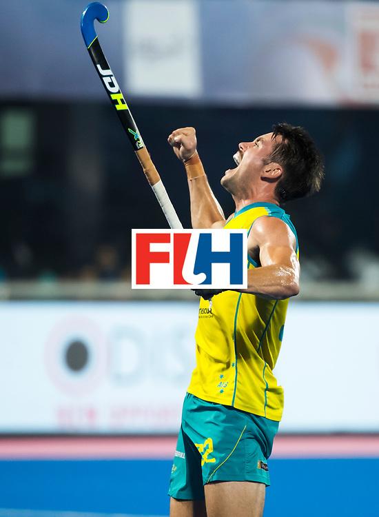 BHUBANESWAR - Jeremy Hayward (Aus) heeft gescoord.  Hockey World League finals , Final Australia-Argentina (2-1) . Australia wint de finale. COPYRIGHT KOEN SUYK