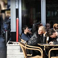 NOVUM: Nederland, Amsterdam , 5 maart 2014.<br /> De lente is zo goed als begonnen. terrasweer zoals hier op Nieuwmarkt.<br /> Foto:Jean-Pierre Jans