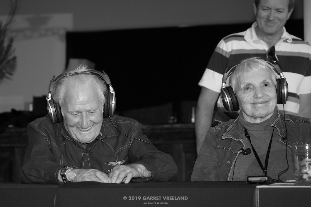 Norman Dewis and Denise McCluggage, Legends of Racing lecture at the Las Campanas Clubhouse, 2013 Santa Fe Concorso.