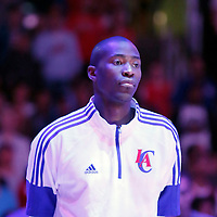 24 October 2014: Los Angeles Clippers guard Jamal Crawford (11) stands during the national anthem prior to the Portland Trail Blazers 99-89 victory over the Los Angeles Clippers, in a preseason game, at the Staples Center, Los Angeles, California, USA.