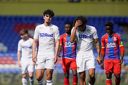 Pascal Struijk of Leeds United U23 and Izzy Brown of Leeds United U23 walk off the pitch at half time during the U23 Professional Development League match between U23 Crystal Palace and Leeds United at Selhurst Park, London, England on 15 April 2019.
