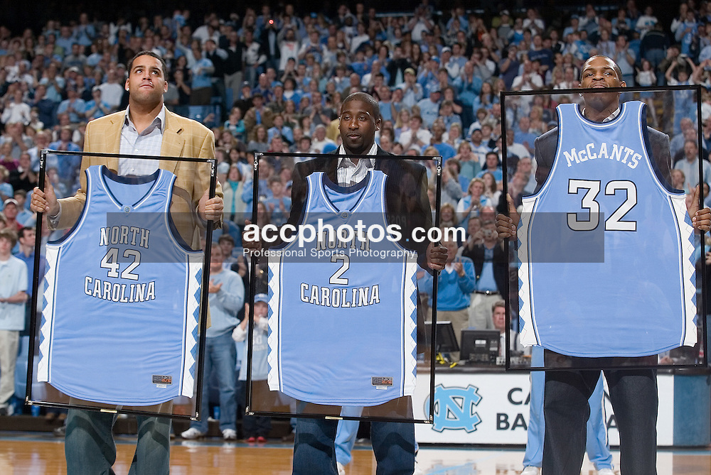 31 December 2006: The jerseys for former players Sean May, Raymond Felton and Rashad McCants (pictured here left to right) were honored and hung in the Dean Smith Center during a North Carolina Tar Heels 81-51 win over the Dayton Flyers in Chapel Hill, NC.<br />