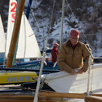 "PSUNDAY) Red Bank 12/10/2005  Bob Pulsch of Port Monmouth (Middletown) gets ready to rig a sail on on his ""C"" class ice boat.  Michael J. Treola Staff Photographer.....MJT"
