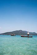 Moken 'sea gypsy' near Pani Island. Aboard the Meta IV, Mergui Archipelago.