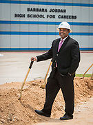 Al Lloyd poses for a photograph following a groundbreaking ceremony at Barbara Jordan Career Center, May 9, 2017.
