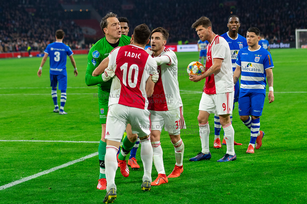 13-03-2019 NED: Ajax - PEC Zwolle, Amsterdam<br /> Ajax has booked an oppressive victory over PEC Zwolle without entertaining the public 2-1 / Diederik Boer #1 of PEC Zwolle, Dusan Tadic #10 of Ajax, Nicolas Tagliafico #31 of Ajax, Klaas Jan Huntelaar #9 of Ajax