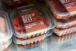 © Licensed to London News Pictures. 23/11/2018. London, UK.  ''Beefed up beef' on a shelf inside the People's Vote campaign stunt pop-up shop in Peckham High Street on Black Friday to show that the government's Brexit deal is a bad deal and the shop is stocked with household products, such as 'chlorinated' chicken to illustrate the bad deal. Photo credit: Vickie Flores/LNP