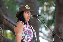 A speaker at the anti-gas rally held at Town Beach oval on Saturday 16th October 2010.  Thousands turned out for the anti-gas rally held in Broome on Saturday 16th Ocober 2010.  The rally sends a clear message to Premier Colin Barnett that there is massive opposition to the gas processing hub at James Price Point.