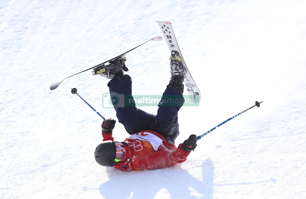 Great Britain's Tyler Harding crashes out during the Men's Ski Slopestyle Skiing at the Pheonix Snow Park during day nine of the PyeongChang 2018 Winter Olympic Games in South Korea.