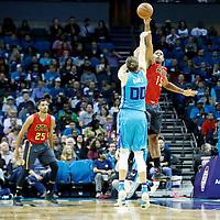 01 November 2015: Atlanta Hawks forward Al Horford (15) blocks Charlotte Hornets forward Spencer Hawes (00) jump shot during the Atlanta Hawks 94-92 victory over the Charlotte Hornets, at the Time Warner Cable Arena, in Charlotte, North Carolina, USA.