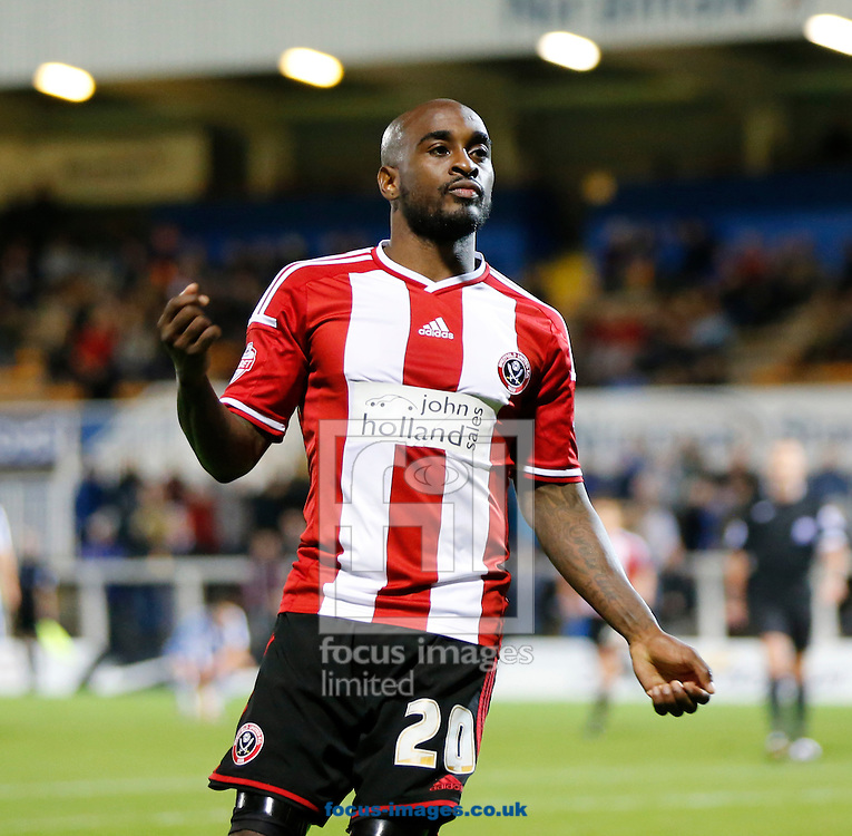 Jamal Campbell-Ryce of Sheffield United celebrates scoring during the Johnstone's Paint Trophy match at Victoria Park, Hartlepool<br /> Picture by Simon Moore/Focus Images Ltd 07807 671782<br /> 07/10/2014