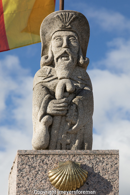 Statue of St. James marks the Camino to Santiago de Compostela. One of the many statues of St. James along The Way