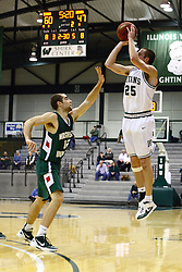 17 December 2011:  Jordan Zimmer nails a long distance shot during an NCAA mens division 3 basketball game between the Washington University Bears and the Illinois Wesleyan Titans in Shirk Center, Bloomington IL