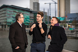 """© Licensed to London News Pictures . 22/01/2018 . Salford , UK . MIKE JOYCE , CRAIG GANNON and BOB RILEY ( Chief Executive of Manchester Camerata ) . Former band members of the Smiths and Manchester Camerata were reported to be joining forces to create """" Classically Smiths """" which would have seen Smiths songs played live to a classical orchestral backing but now bass player Andy Rourke has said he knew nothing of the project and was never invited in the first place . Photo credit : Joel Goodman/LNP"""