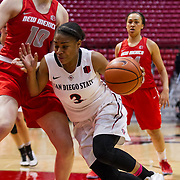 03 March 2017: The San Diego State Aztec's women's basketball team hosts New Mexico for seniors night as they close out regular season play. The Aztecs beat the Lobos 63-51 at Viejas Arena.<br /> www.sdsuaztecphotos.com