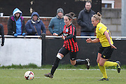 Charley Boswell and Holly Wride during the Women's FA Cup match between Watford Ladies FC and Brighton Ladies at the Broadwater Stadium, Berkhampstead, United Kingdom on 1 February 2015. Photo by Stuart Butcher.
