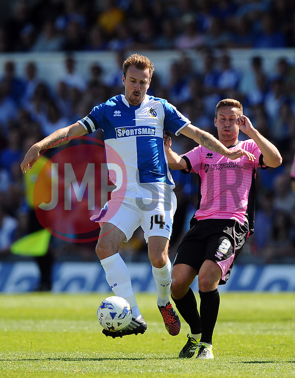 Chris Lines of Bristol Rovers battles for the ball with Joel Byrom of Northampton Town  - Mandatory byline: Joe Meredith/JMP - 07966386802 - 08/08/2015 - FOOTBALL - Memorial Stadium -Bristol,England - Bristol Rovers v Northampton Town - Sky Bet League Two