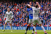 Penalty! - Nikola Katic of Rangers FC gets man handled by Andrew Considine of Aberdeen FC during the Ladbrokes Scottish Premiership match between Rangers and Aberdeen at Ibrox, Glasgow, Scotland on 27 April 2019.