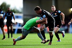 Jannes Kirsten of Exeter Chiefs is challenged by Will Evans of Harlequins - Mandatory by-line: Ryan Hiscott/JMP - 19/10/2019 - RUGBY - Sandy Park - Exeter, England - Exeter Chiefs v Harlequins - Gallagher Premiership Rugby