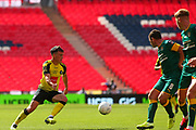 Harrogate Town defender Ryan Fallowfield (2) during the Vanarama National League Promotion Final match between Harrogate Town and Notts County at Wembley Stadium, London, England on 2 August 2020.