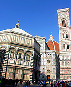 The Florence Baptistery or Battistero di San Giovanni, is a religious building in Florence (Tuscany), Italy. The octagonal Baptistery stands in both the Piazza del Duomo and the Piazza di San Giovanni, across from the Duomo cathedral and the Giotto bell t