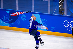 22-02-2018 KOR: Olympic Games day 13, PyeongChang<br /> Final Ice Hockey Canada - USA 2-3 / Team USA viert feest en pakt de gouden medaille, Gigi Marvin #19 of the United States