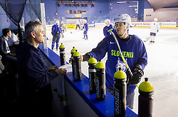 Milan Dragan  and Ales Music of Slovenia during practice session of Team Slovenia at the 2017 IIHF Men's World Championship, on May 8, 2017 in Accorhotels Arena in Paris, France. Photo by Vid Ponikvar / Sportida