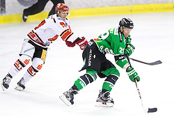 28.09.2014, Hala Tivoli, Ljubljana, SLO, EBEL, HDD Telemach Olimpija Ljubljana vs HC TWK Innsbruck, 6. Runde, in picture Anze Ropret (HDD Telemach Olimpija, #29) and Jeff Ulmer (HC TWK Innsbruck, #44) during the Erste Bank Icehockey League 6. Round between HDD Telemach Olimpija Ljubljana and HC TWK Innsbruck at the Hala Tivoli, Ljubljana, Slovenia on 2014/09/28. Photo by Matic Klansek Velej / Sportida